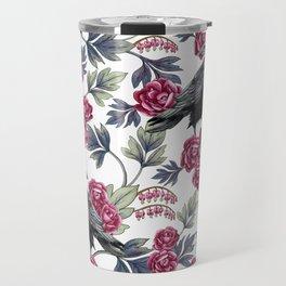 Crows, Bleeding Hearts & Roses Floral/Botanical Pattern Travel Mug