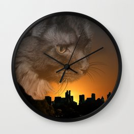 Maine Coon over New York Wall Clock