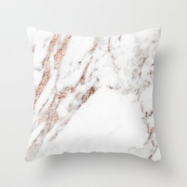 Rose gold foil marble Throw Pillow