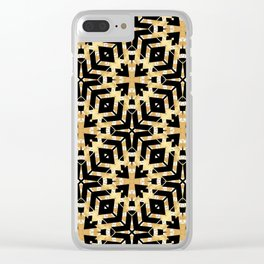 Black and Gold Foil Art Deco Clear iPhone Case