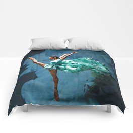 -O1- Blue Ballet Dancer Deep Feelings. Comforters