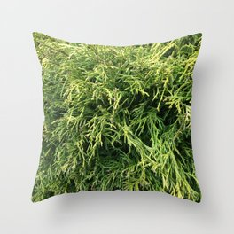 Combed Greens Throw Pillow