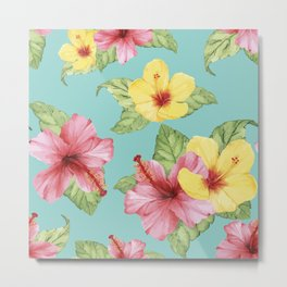 Tropical Hawaiian Hibiscus Floral Print Metal Print