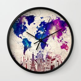 world map city skyline galaxy 2 Wall Clock