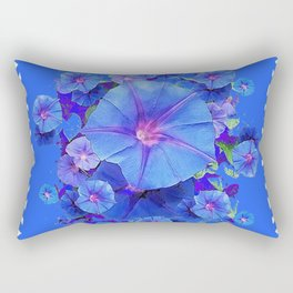 Baby Blue Morning Glories Green Floral Art Rectangular Pillow