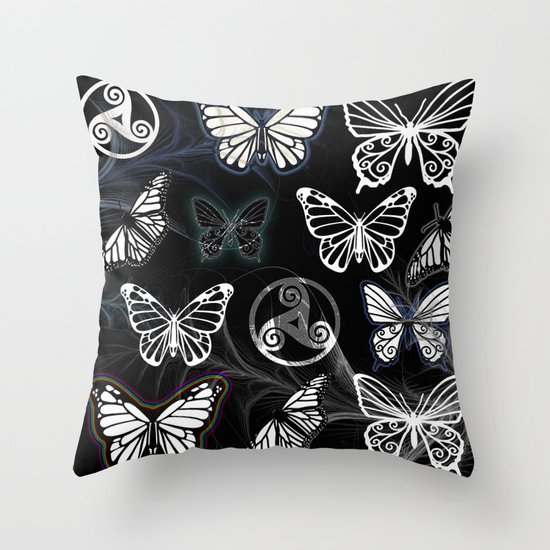 Butterfly Dreams in Black Throw Pillow