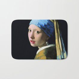 Jan Vermeer Girl With A Pearl Earring Baroque Art Bath Mat