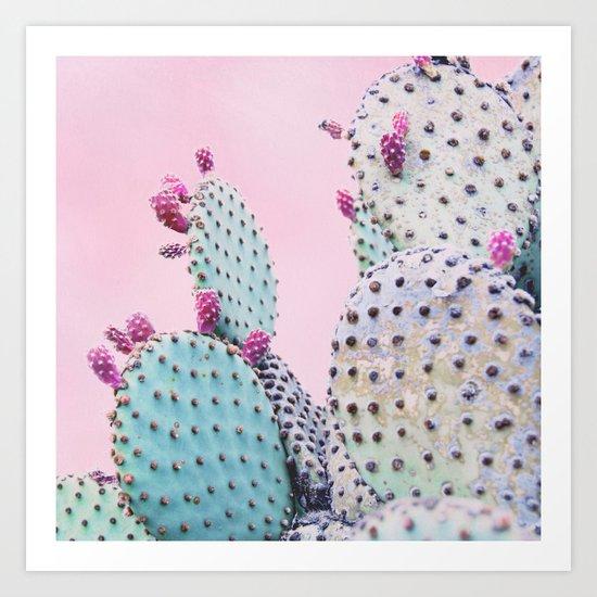Pink Crush Cactus I Art Print