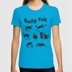 The Daily Tail Cat Womens Fitted Tee MEDIUM Teal