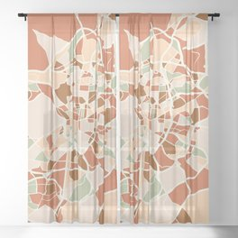 MADRID SPAIN CITY MAP EARTH TONES Sheer Curtain