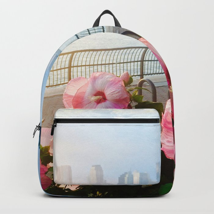 Battery Park New York City Skyline with Pink Hibiscus Flowers Backpack