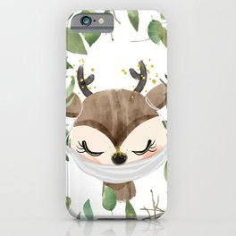 Against Virus - Hand Drawn Watercolor Deer With Mask iPhone Case