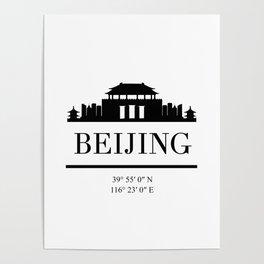 BEIJING CHINA BLACK SILHOUETTE SKYLINE ART Poster