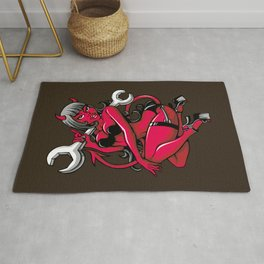Devil Pin-Up Girl with Big Wrench Rug