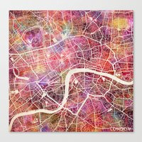 london Canvas Prints featuring London  by MapMapMaps.Watercolors