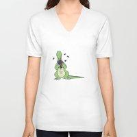 crocodile V-neck T-shirts featuring Crocodile by Meredith Mackworth-Praed