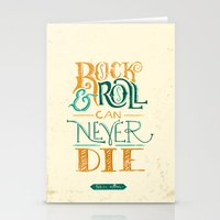 neil young Stationery Cards featuring Rock & Roll Can Never Die - Neil Young by courtneyblair