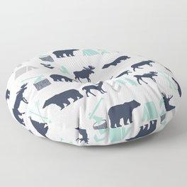 Camper pattern minimal nursery basic grey navy mint white camping cabin chalet decor Floor Pillow