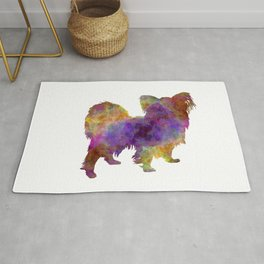 Papillon dog in watercolor Rug