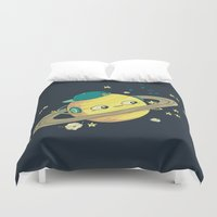 dj Duvet Covers featuring DJ Saturn by Lili Batista