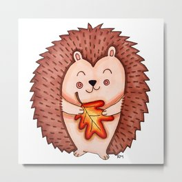 Fall Cute Hedgehog Metal Print