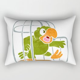 parrot out of the cage Rectangular Pillow