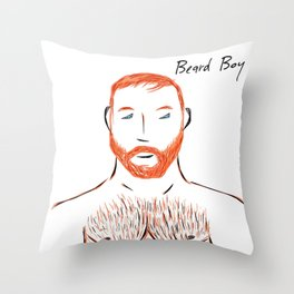 Beard Boy Flame 1 Throw Pillow
