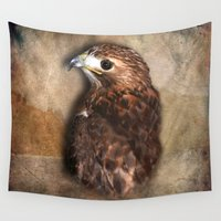 falcon Wall Tapestries featuring Peregrine Falcon Profile by naturessol