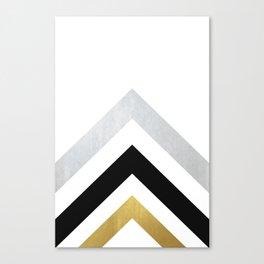 Minimalist Geometric - Black & Gold Canvas Print
