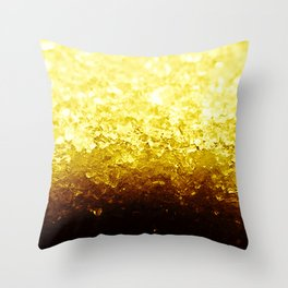 Golden Yellow Ombre Crystals Throw Pillow