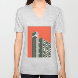 Trellick Tower London Brutalist Architecture - Plain Red Unisex V-Neck