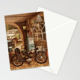 Nostalgic garage with tractor and motorcycle Stationery Cards
