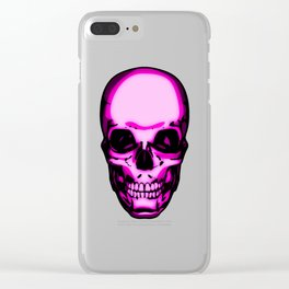 Too Many Pink Skulls Clear iPhone Case