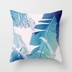 Banana Leaf Blue Throw Pillow
