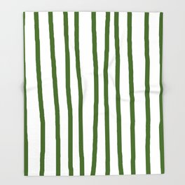 Simply Drawn Vertical Stripes in Jungle Green Throw Blanket