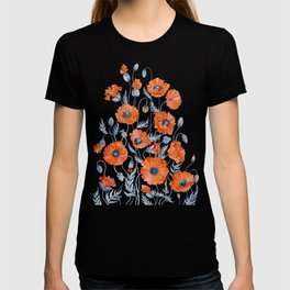Red poppies in grey T-shirt