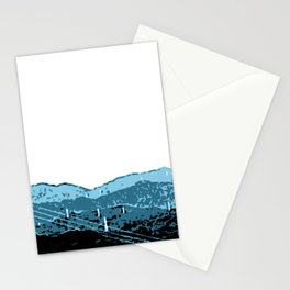 Powerlines in Japan - minimalist mountains Stationery Cards