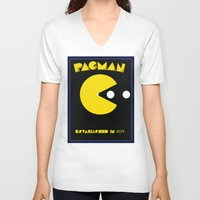 pac man V-neck T-shirts featuring pac-man by CJones5105