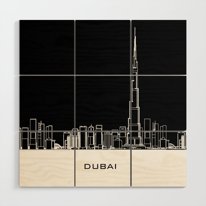 Dubai Skyline - Black Base Wood Wall Art