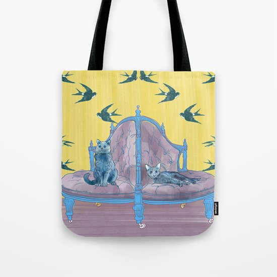 animals in chairs #2 Two Cats Tote Bag