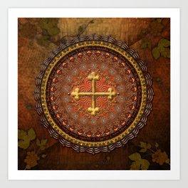 Mandala Armenian Cross Art Print