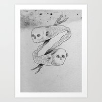 mermaids Art Prints featuring mermaids by Julio Dolbeth