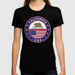 California, California t-shirt, California sticker, circle, California flag, white bg T-shirt