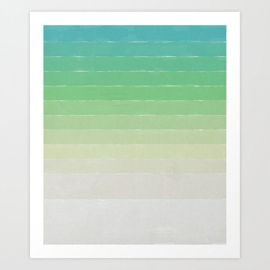 Shades of Ocean Water - Abstract Geometric Line Gradient Pattern between See Green and White Art Print