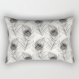 Peacock Feather – Black Palette Rectangular Pillow