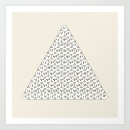 Lichtenberg-Mayer Colour Triangle with letters and numbers, Remake of Mayer's original illustration Art Print