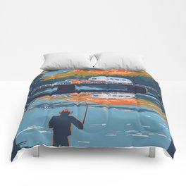 Retro Airstream Travel poster Comforters