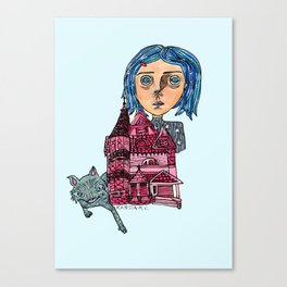 Coraline and Kitty Canvas Print