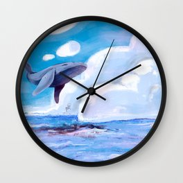 Fly magic whale, fly! Wall Clock