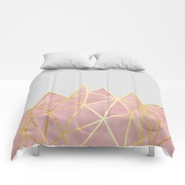Pink & Gold Geometric Comforters